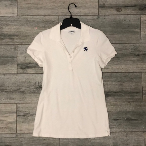 Express Tops - Express white ladies polo with navy logo